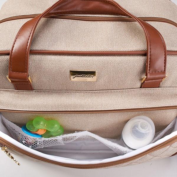 Kit de Mala Maternidade Dupla, Bolsa com Trocador, Mochila Térmica Chicago Bege