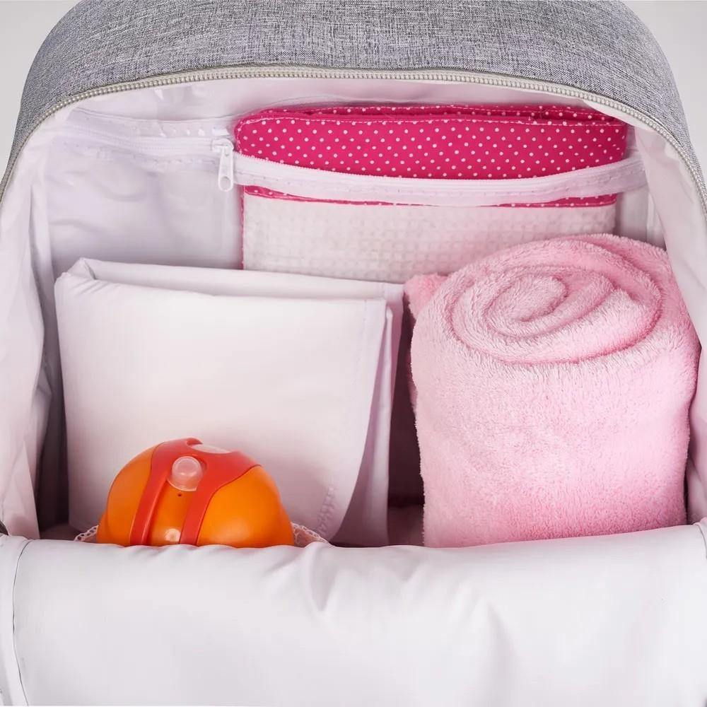 Kit Maternidade Mala de Mão, Bolsa e Mochila Térmica Cinza Zurich
