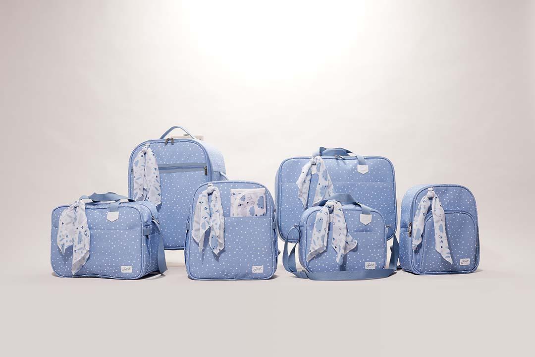 Kit Maternidade Mala, Bolsa e Bolsa Térmica P Bunny Azul
