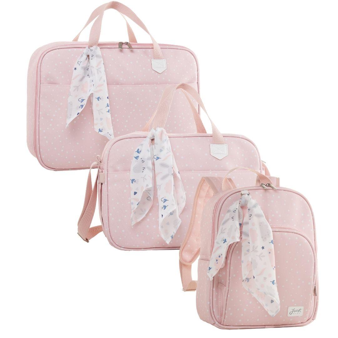 Kit Maternidade Mala, Bolsa e Mochila Térmica P Bunny Rosa