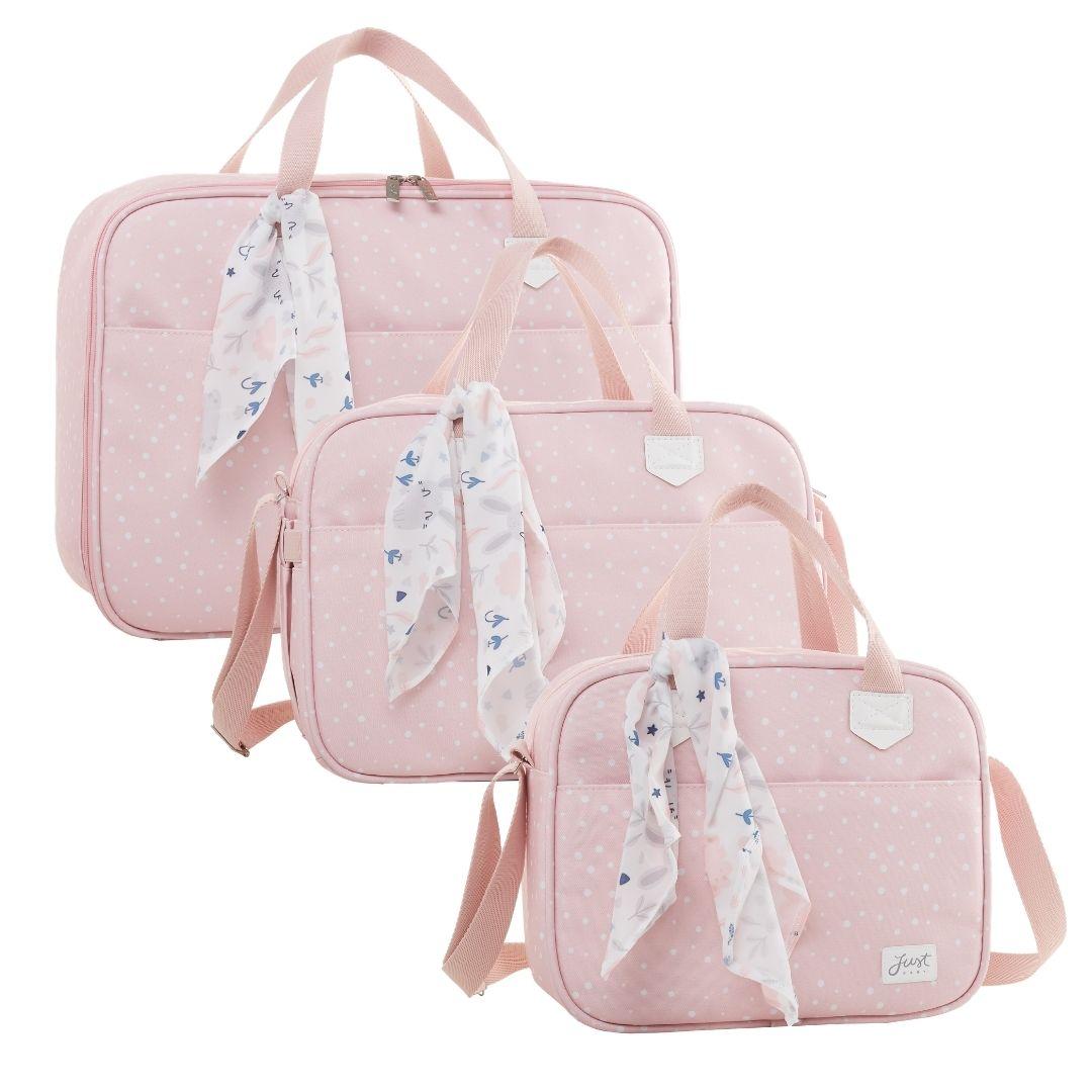 Kit Maternidade Mala, Bolsa e Bolsa Térmica P Bunny Rosa