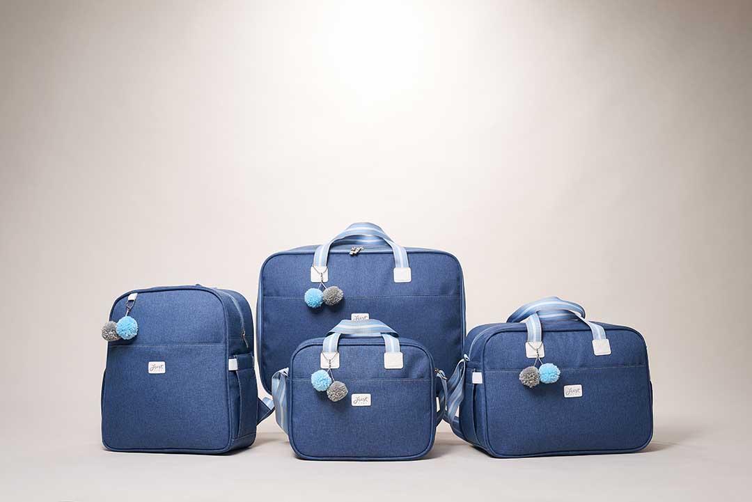 Kit Maternidade Mala, Bolsa e Bolsa Térmica Pequena Color Azul