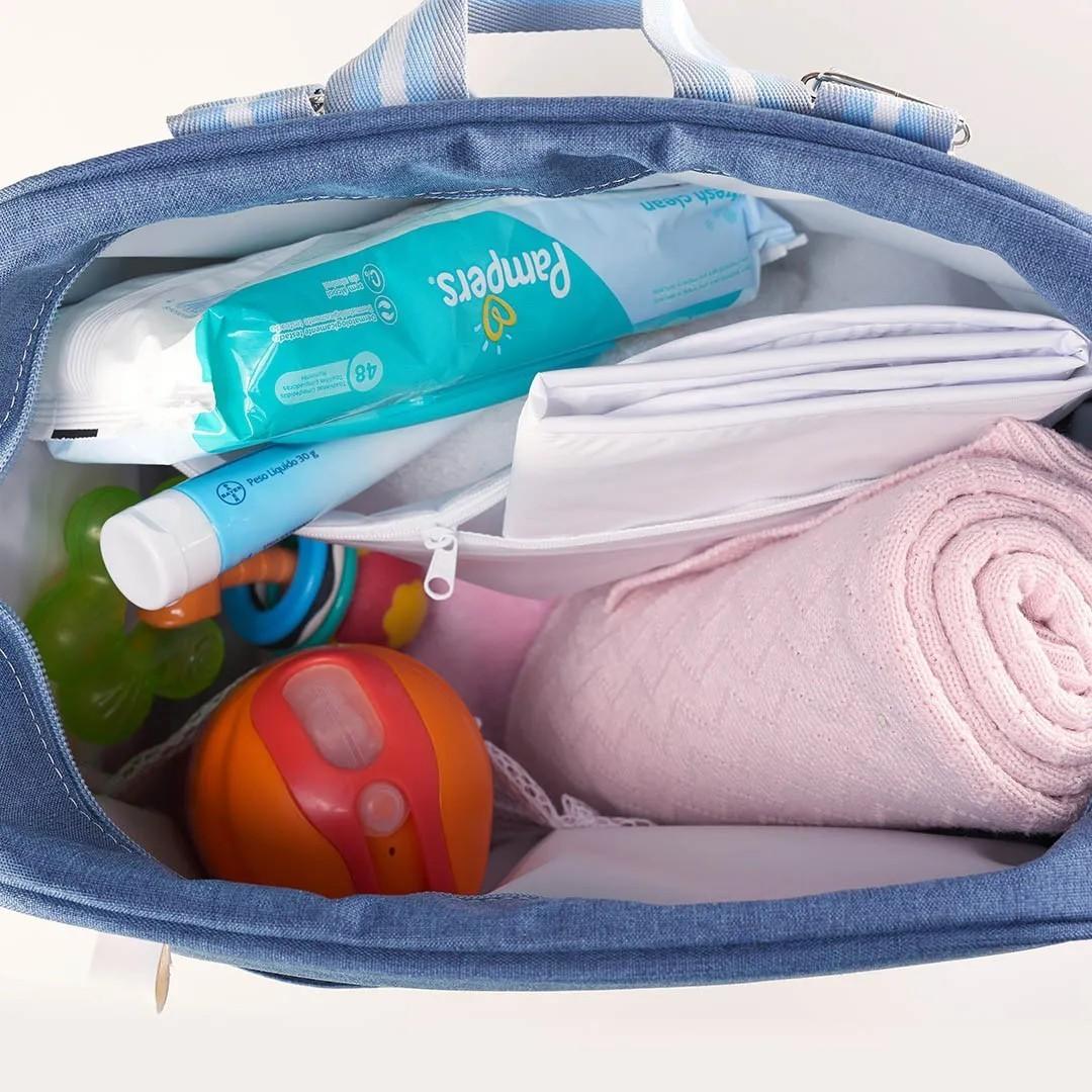 Kit Maternidade Mala, Bolsa e Mochila Térmica Color Azul
