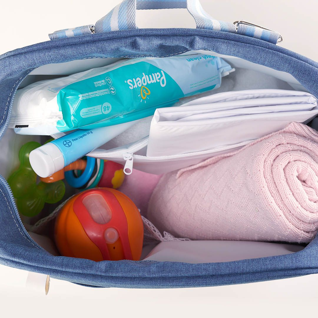 Kit Maternidade Mala, Bolsa, Mochila e Bolsa Térmica Pequena Color Azul
