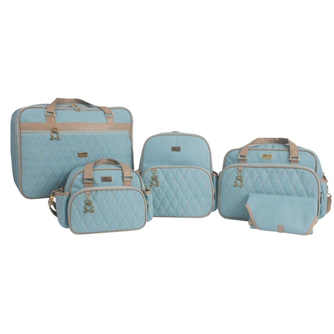 Kit Maternidade Mala Dupla, Bolsa G, Mochila e Bolsa Térmica Pequena Chicago Azul