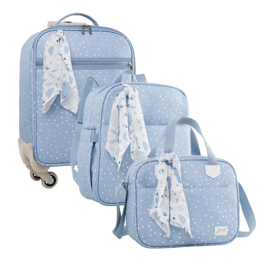 Kit Maternidade Mala de Bordo, Mochila Maternidade G e Fraqueira Térmica Bunny Azul