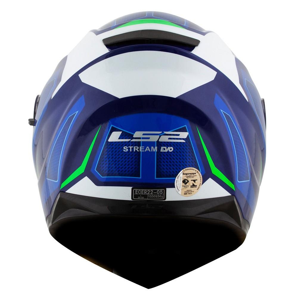 CAPACETE LS2 FF320 STREAM EDGE AZUL BRANCO