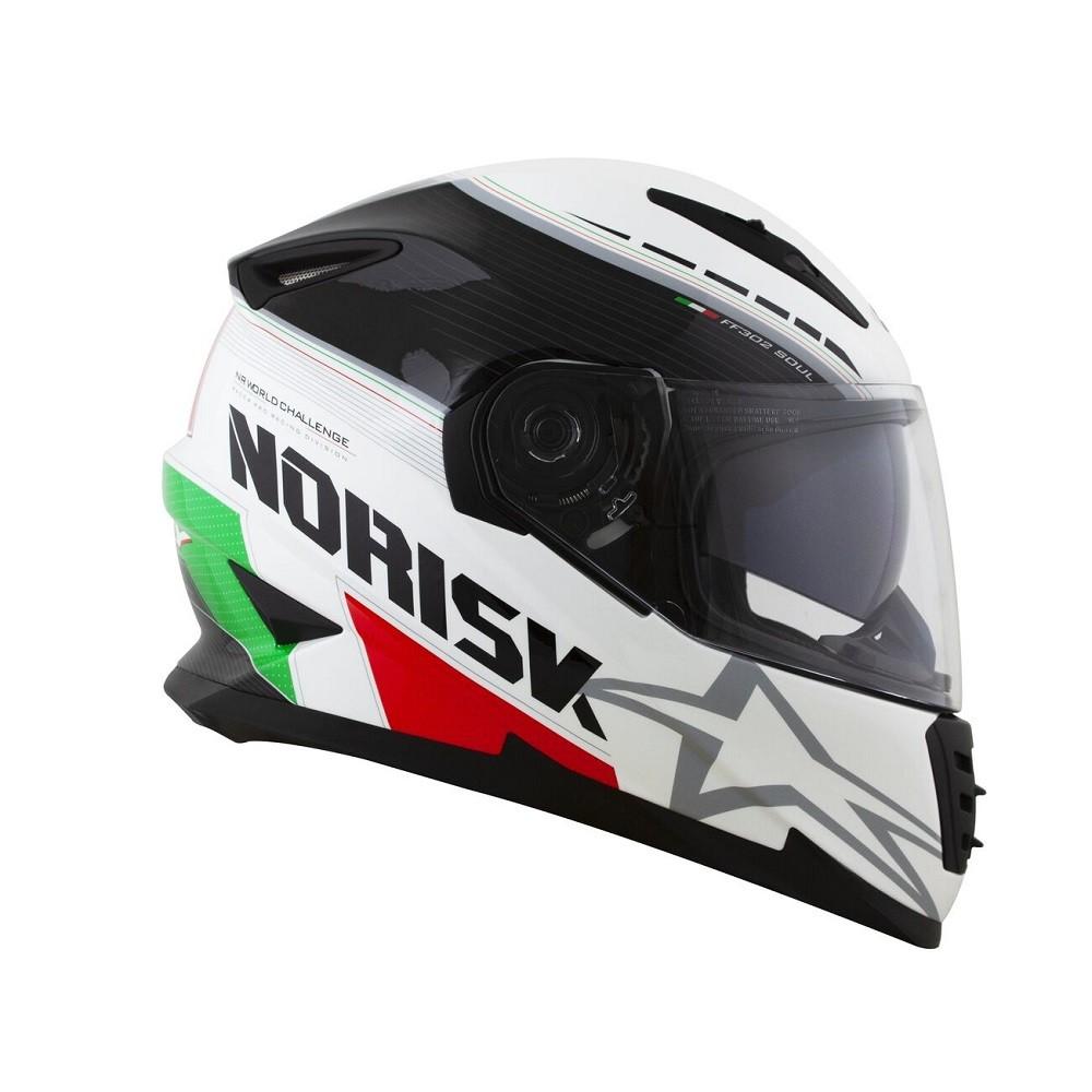 CAPACETE NORISK FF302 SOUL GP ITALY BRANCO VERDE VERMELHO