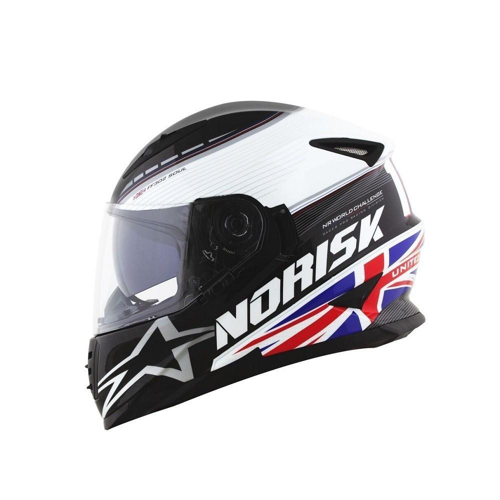 CAPACETE NORISK FF302 SOUL GP UK BRANCO AZUL VERMELHO