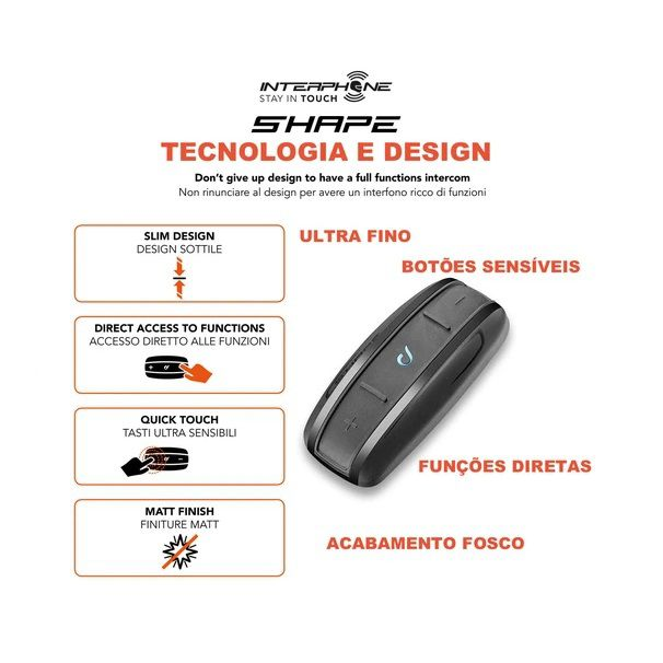 INTERPHONE SHAPE UNITARIO PRETO