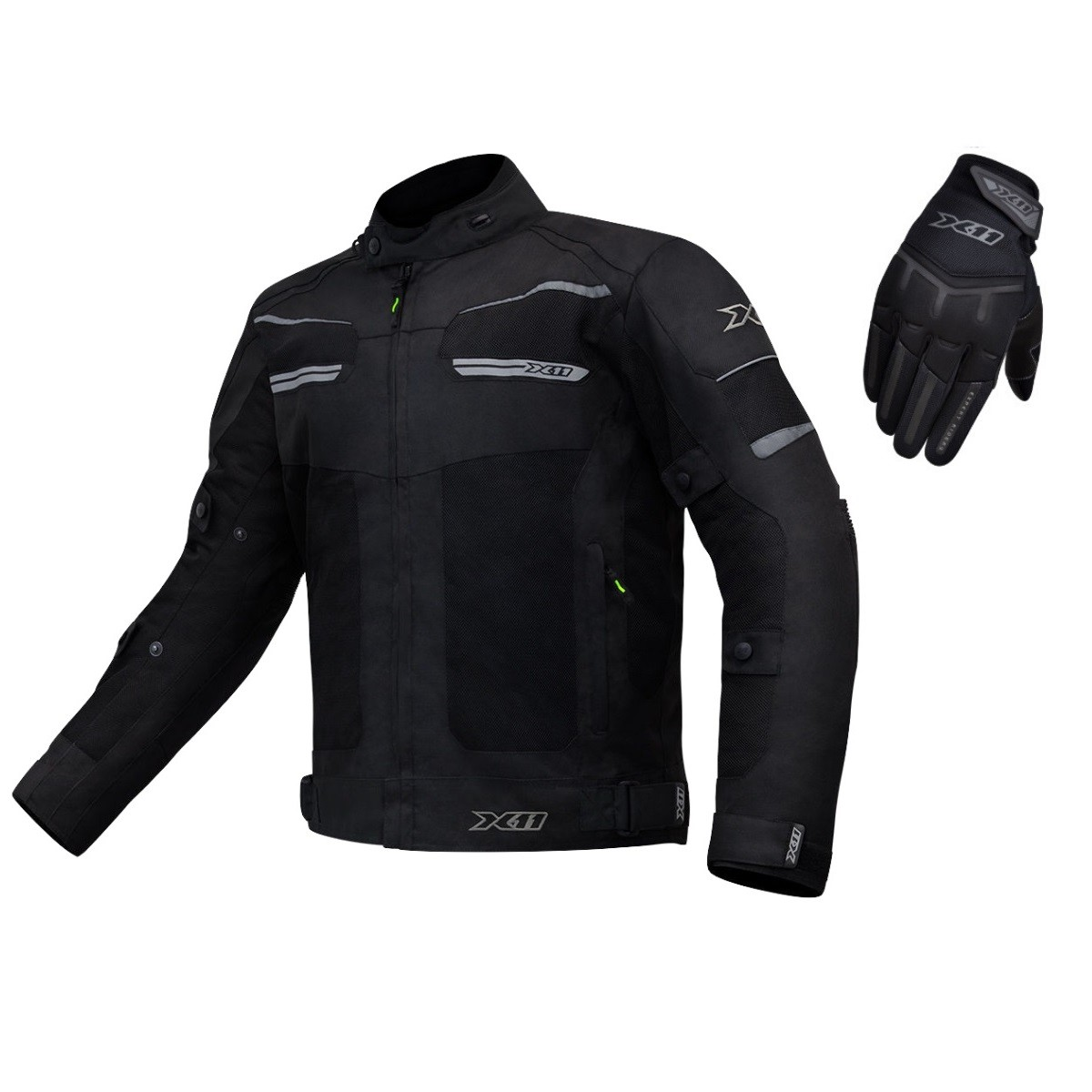 KIT JAQUETA X11 BREEZE MASC PRETO + LUVA FIT X