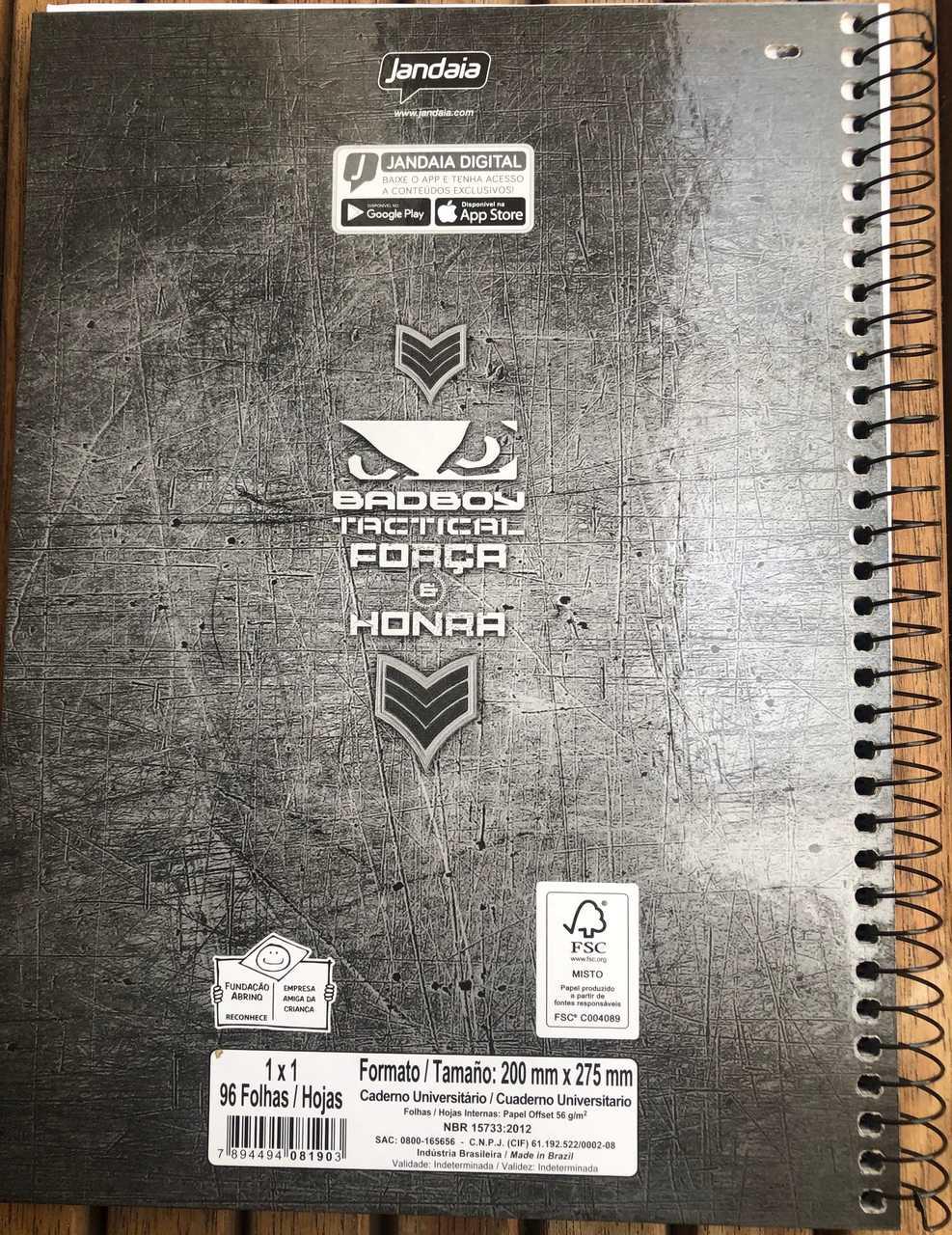 Caderno Bad Boy Tactical 96 folhas