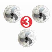 Kit 3 Ventiladores Parede Bivolt Prata Oscilante 60 Cm