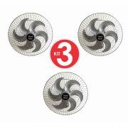 Kit 3 Ventiladores Parede Oscilante 50 Cm Prata / Prata Bivolt Grade Aço