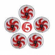 Kit 5 Ventiladores Parede Oscilante 50 Cm Preto / Vermelho Bivolt Grade Aço