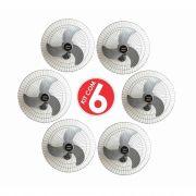Kit 6 Ventiladores Parede Bivolt Prata Oscilante 60 Cm