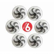 Kit 6 Ventiladores Parede Oscilante 50 Cm Prata / Prata Bivolt Grade Aço