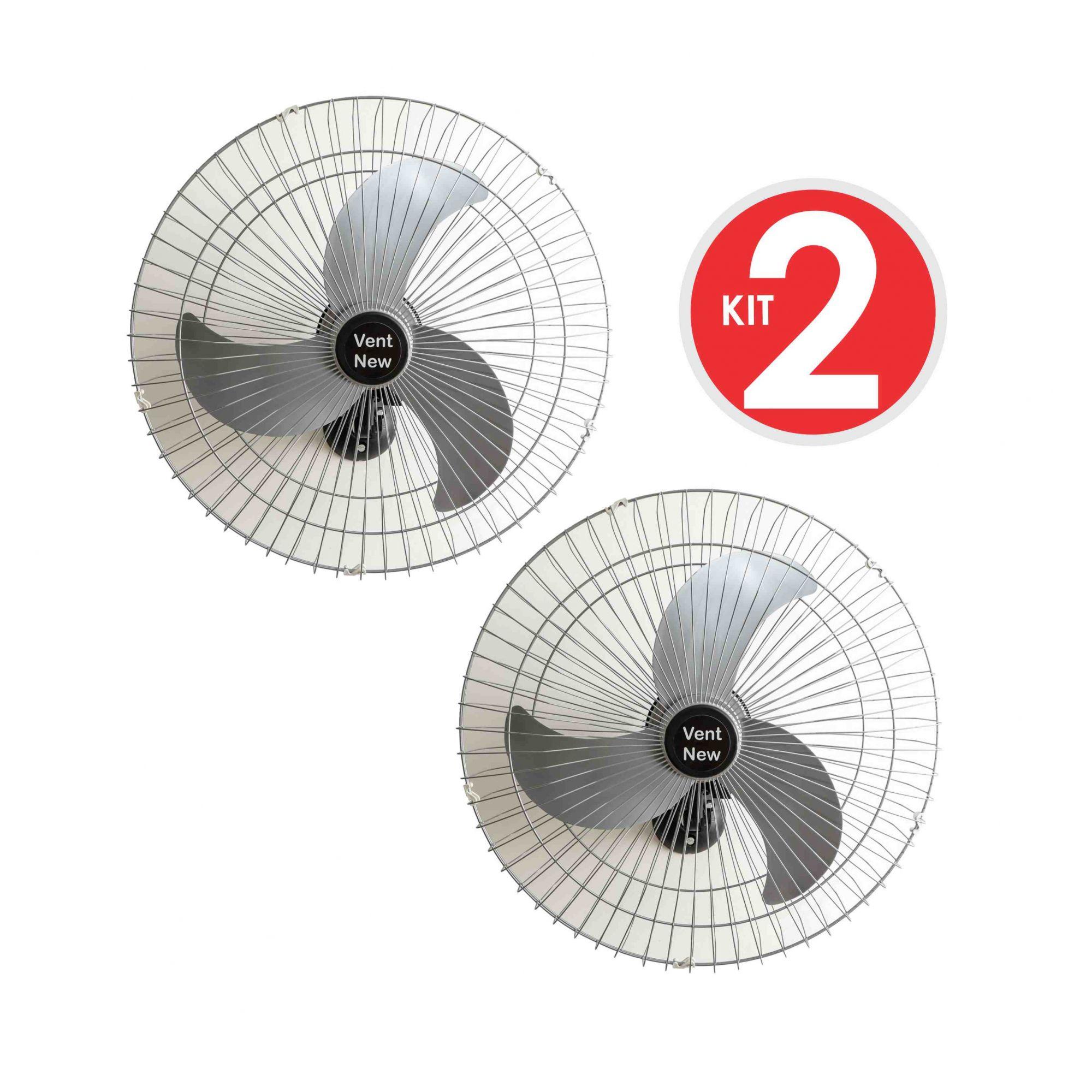 Kit 2 Ventiladores Parede Bivolt Prata Oscilante 60 Cm