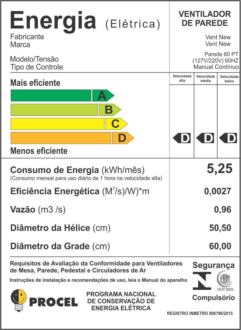 Kit 2 Ventiladores Parede Bivolt Preto Oscilante 60 Cm