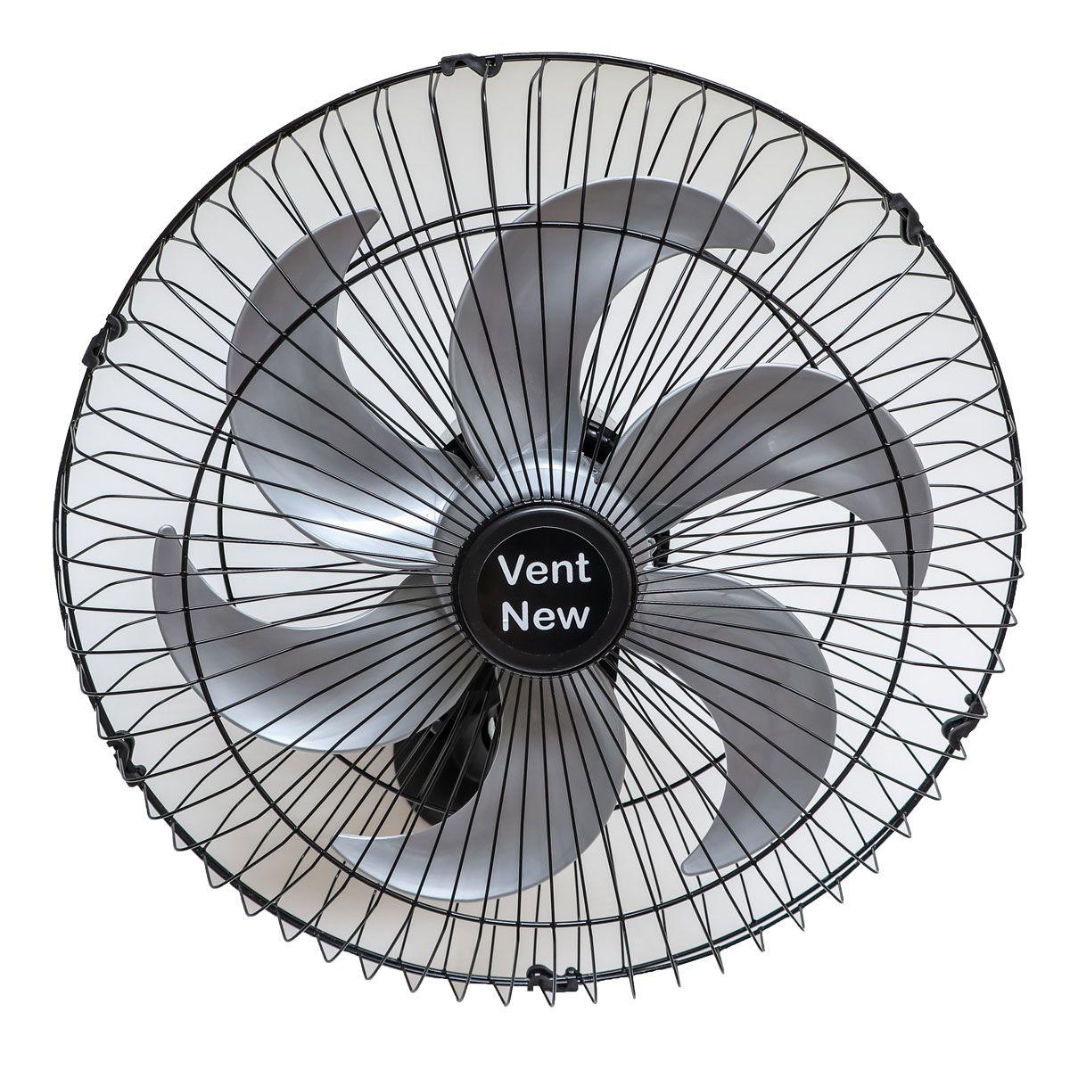 Kit 2 Ventiladores Parede Oscilante 50 Cm Preto / Prata Bivolt Grade Aço