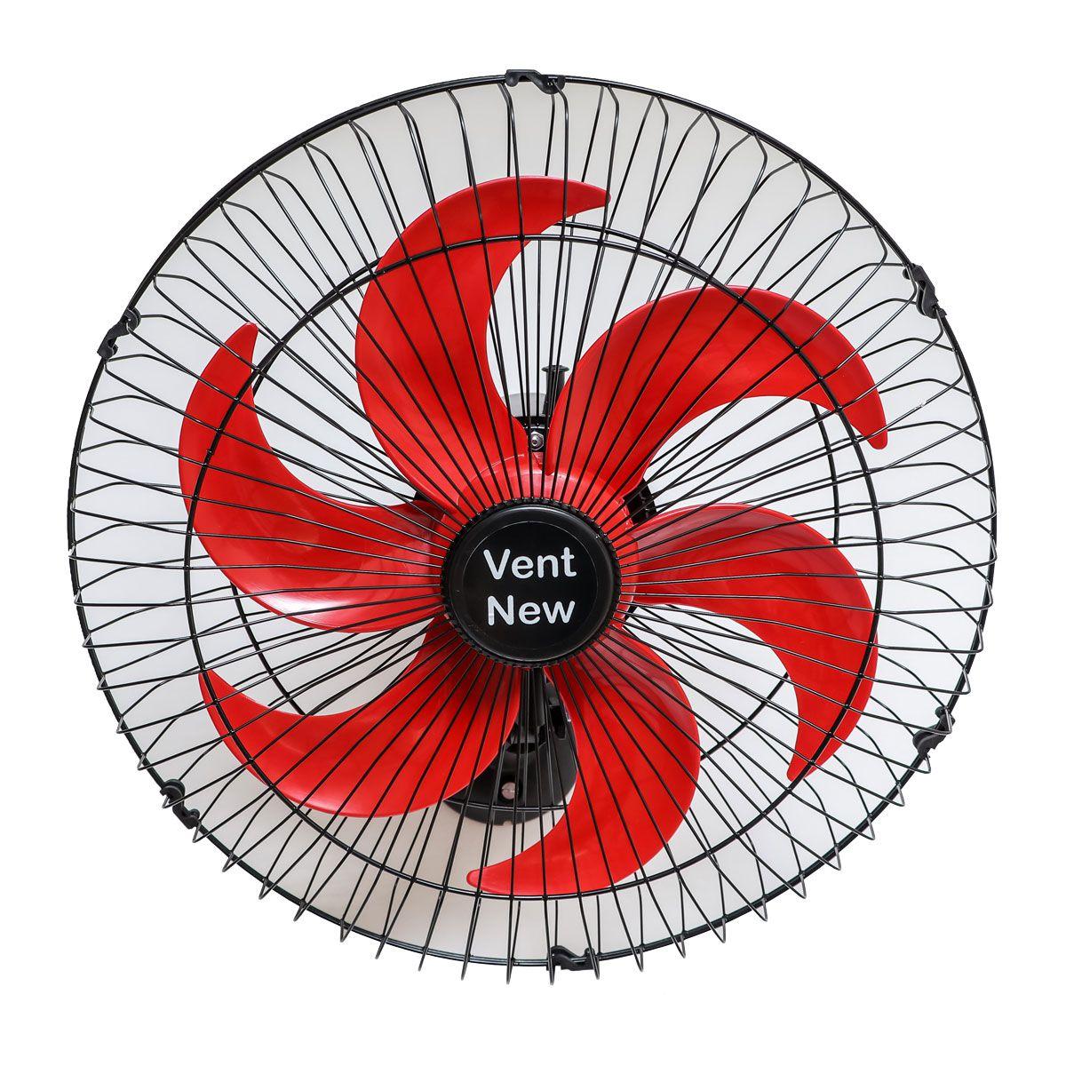 Kit 2 Ventiladores Parede Oscilante 50 Cm Preto / Vermelho Bivolt Grade Aço