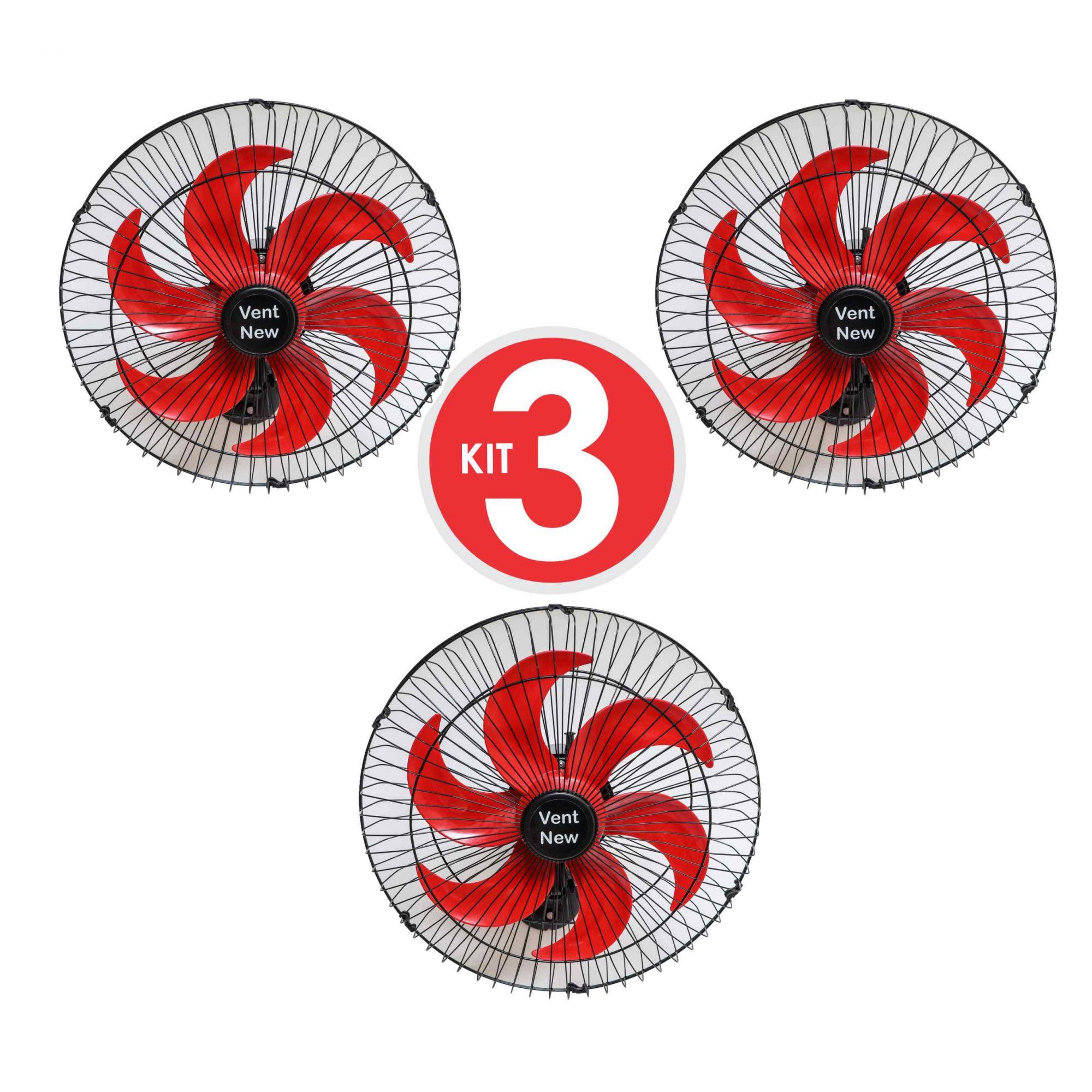 Kit 3 Ventiladores Parede Oscilante 50 Cm Preto / Vermelho Bivolt Grade Aço