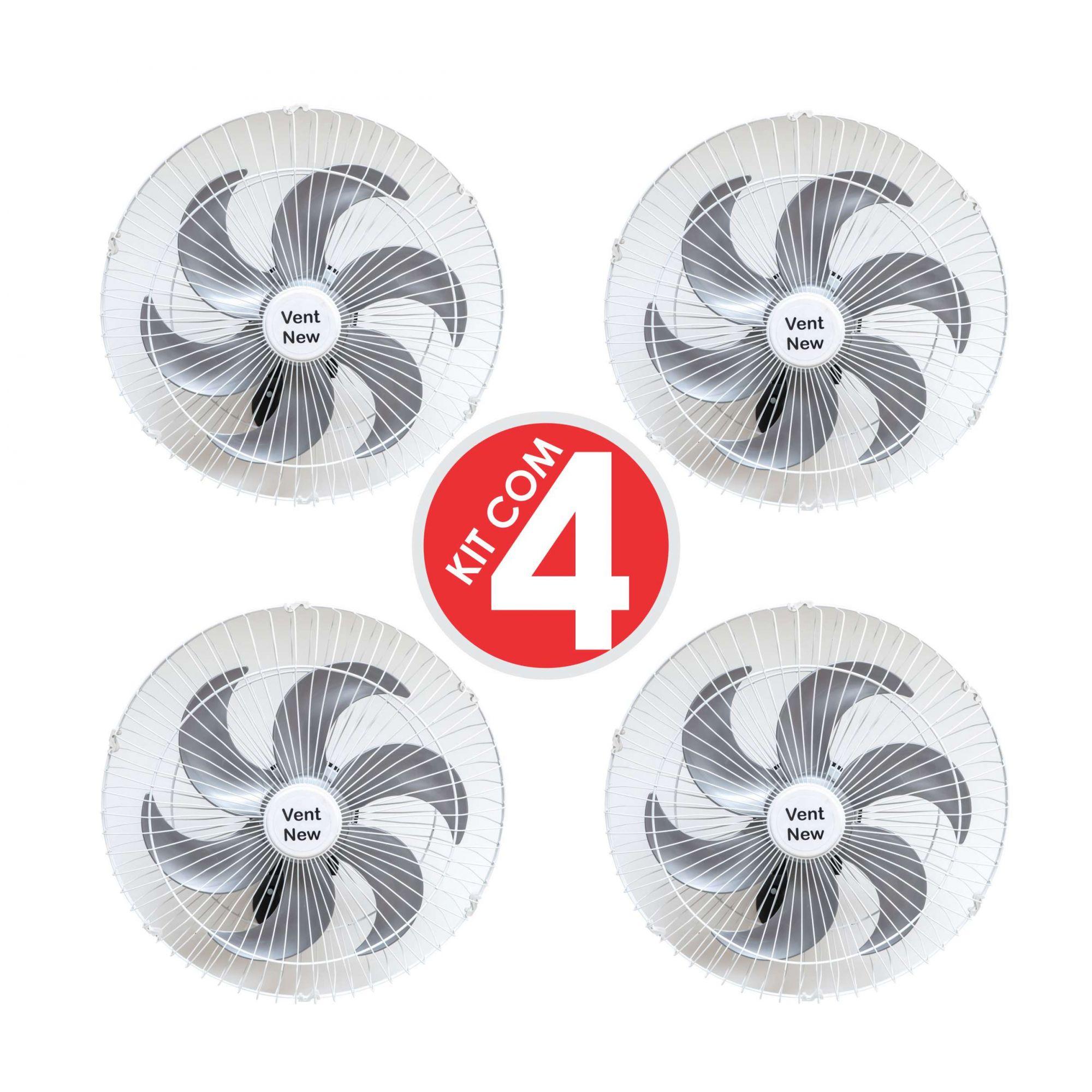 Kit 4 Ventiladores Parede Oscilante 50 Cm Branco / Prata Bivolt Grade Aço