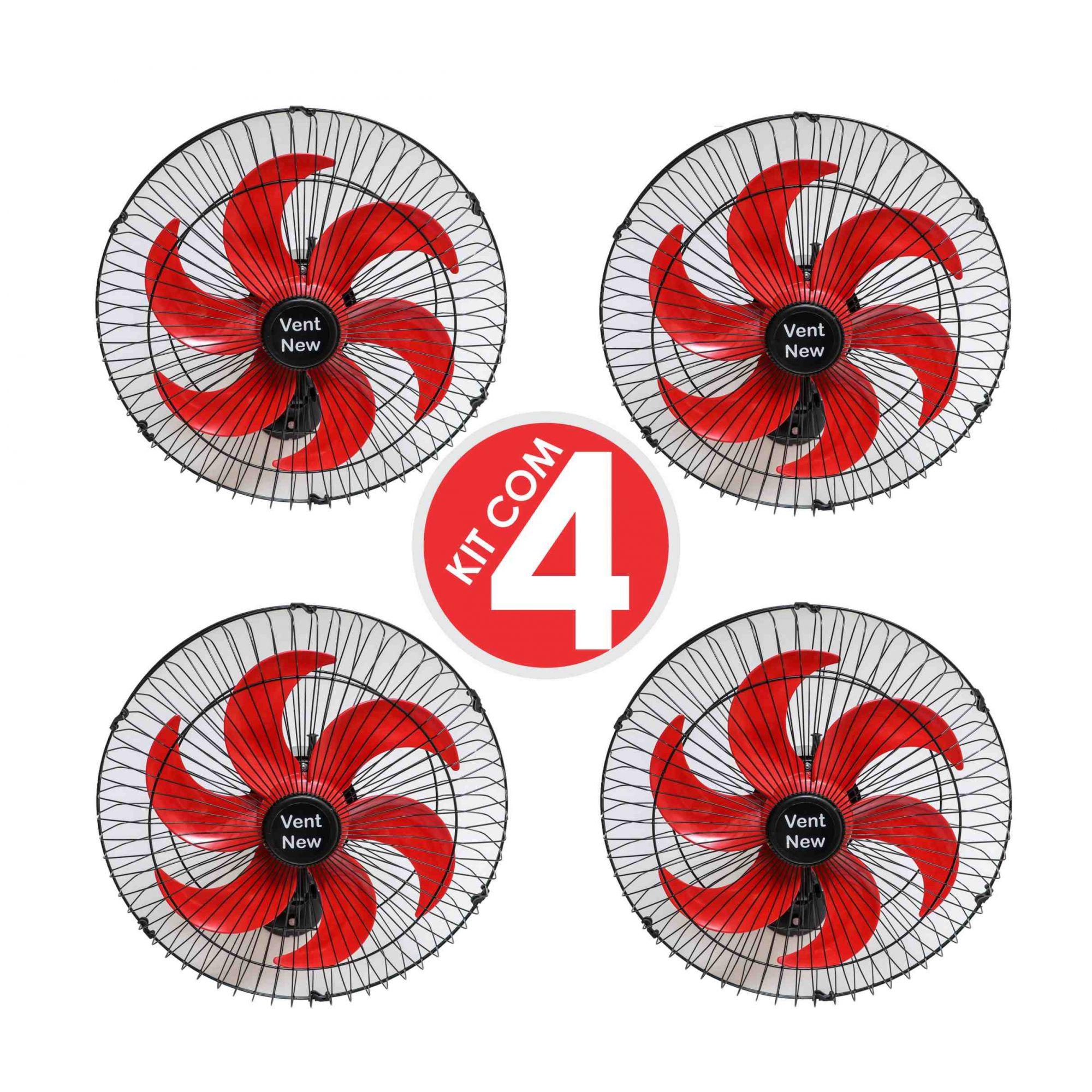 Kit 4 Ventiladores Parede Oscilante 50 Cm Preto / Vermelho Bivolt Grade Aço