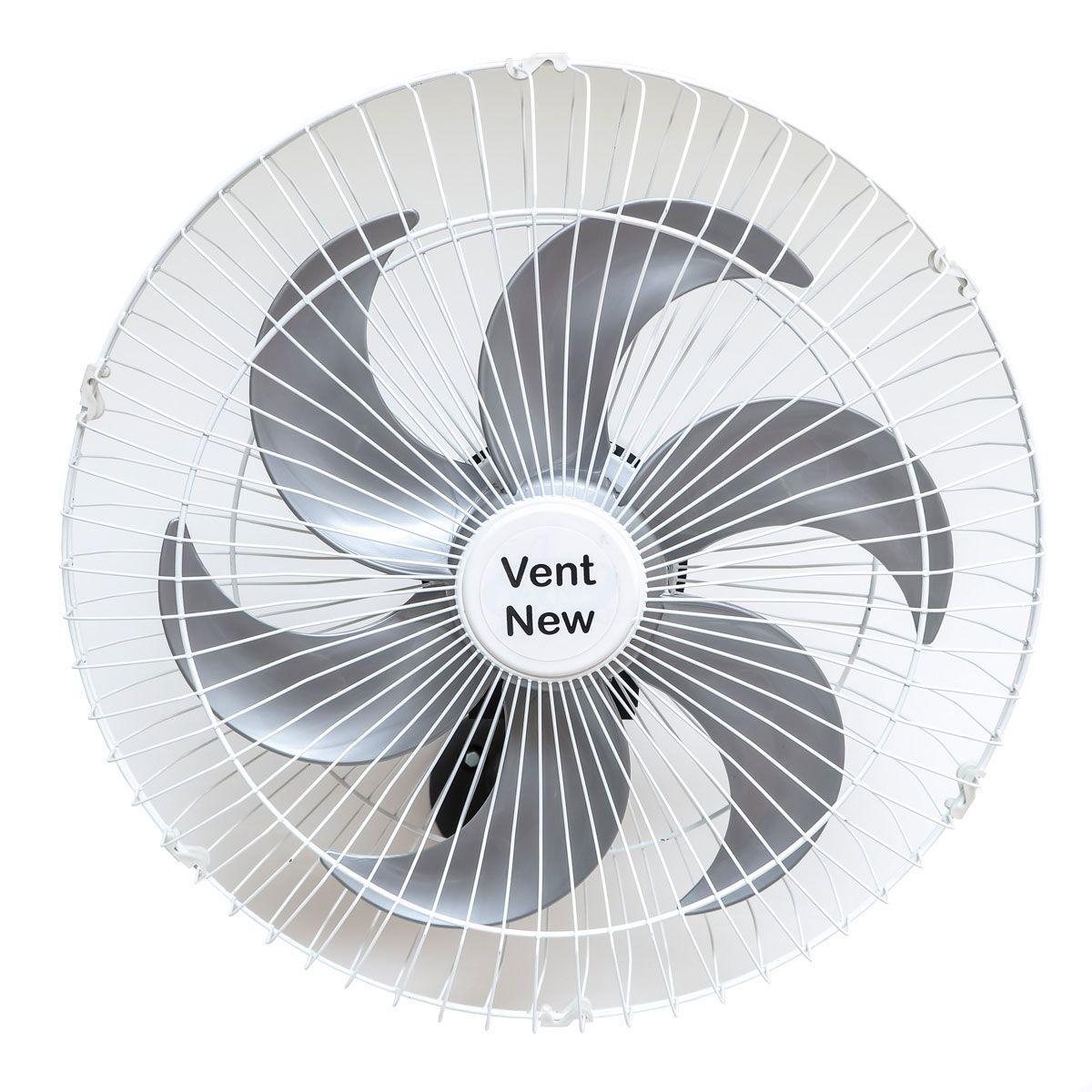 Kit 5 Ventiladores Parede Oscilante 50 Cm Branco / Prata Bivolt Grade Aço