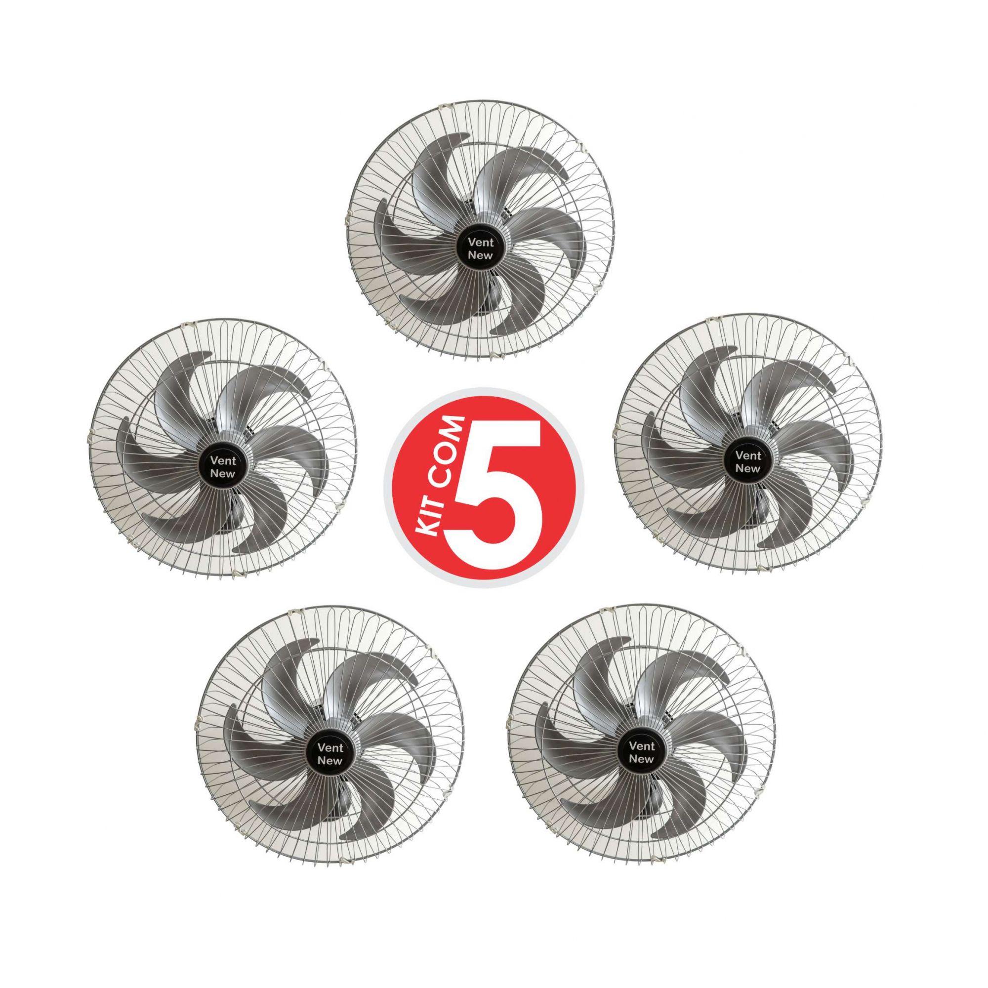 Kit 5 Ventiladores Parede Oscilante 50 Cm Prata / Prata Bivolt Grade Aço