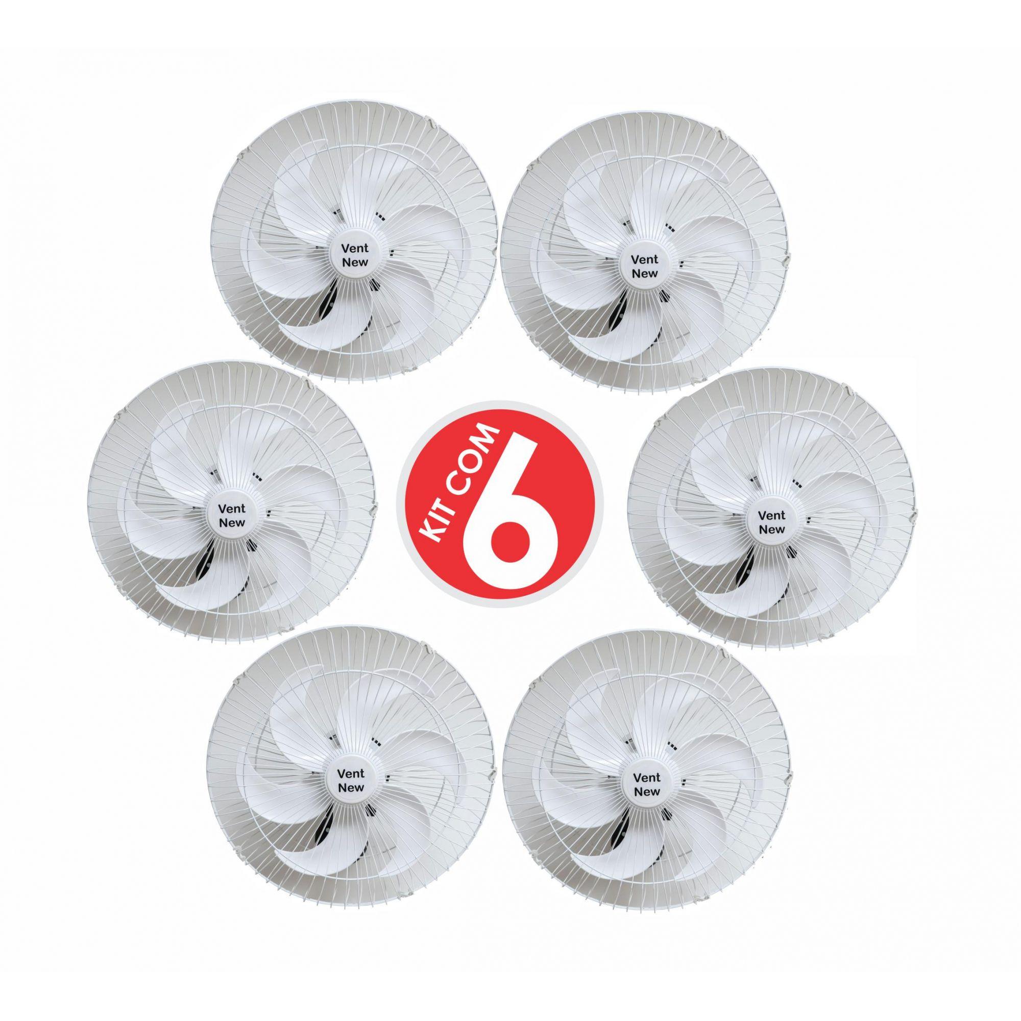Kit 6 Ventiladores Parede Oscilante 50 Cm Branco / Branco Bivolt Grade Aço