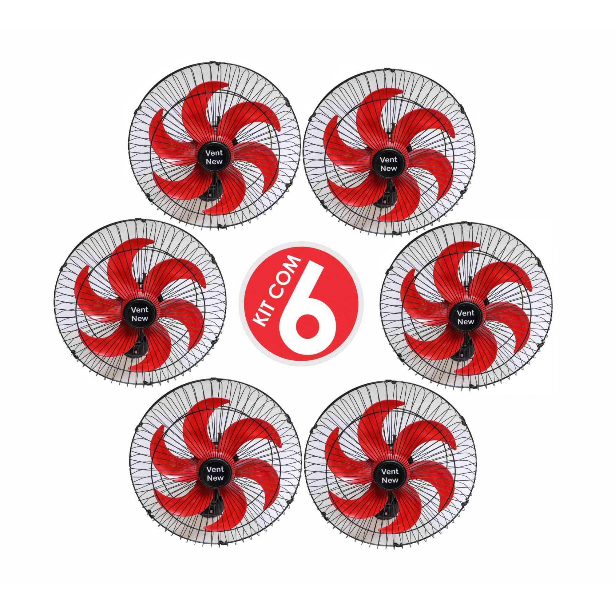 Kit 6 Ventiladores Parede Oscilante 50 Cm Preto / Vermelho Bivolt Grade Aço