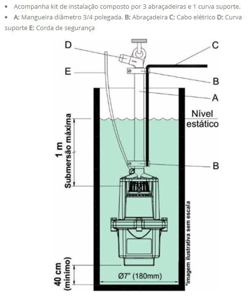 Bomba Aguá Submersa Anauger 800 5g 3/4 380w 127v Mod Novo