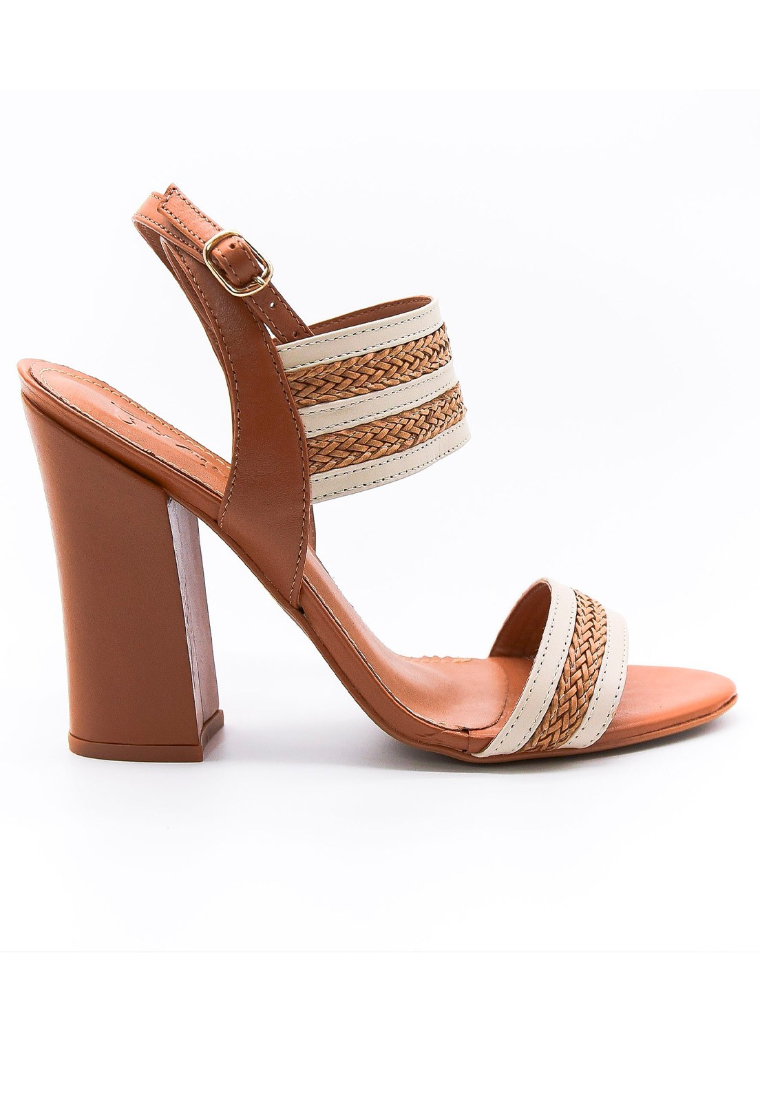 Sandália couro caramelo Lavine
