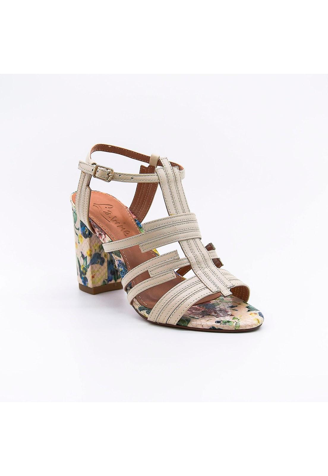 Sandália couro off-white floral Lavine