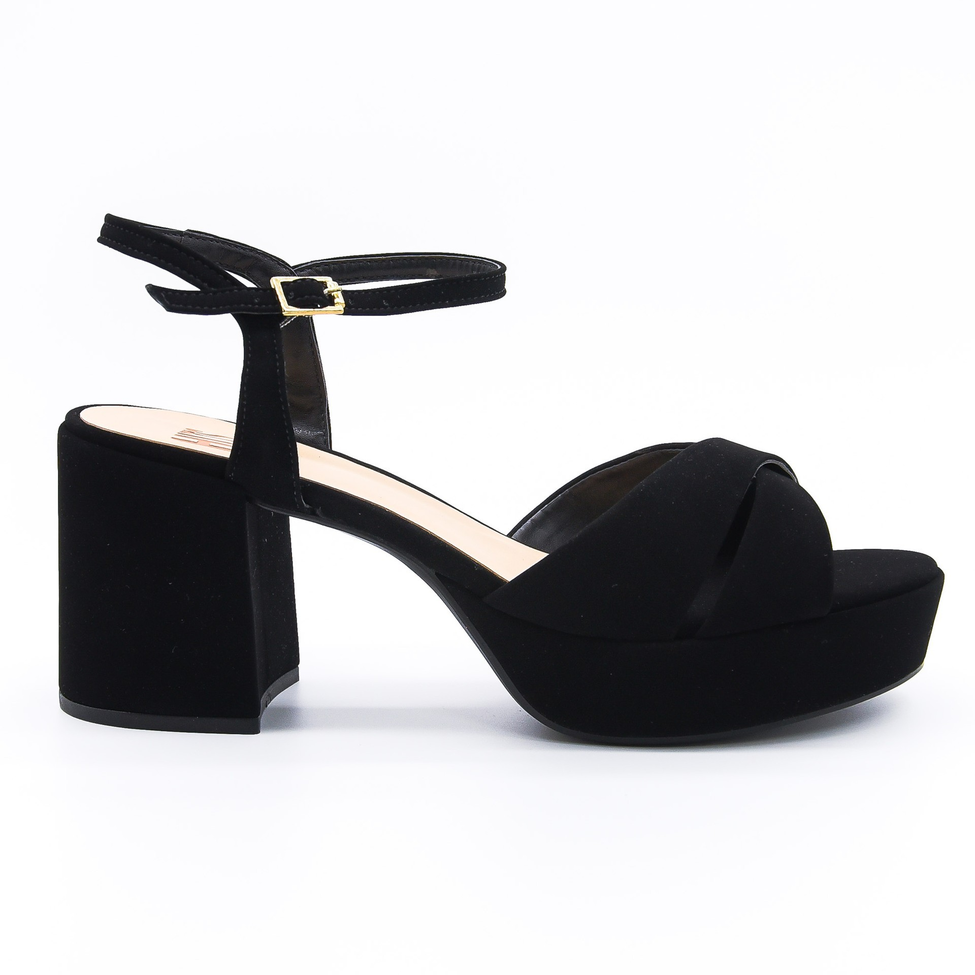 Sandália meia pata couro preta Hits