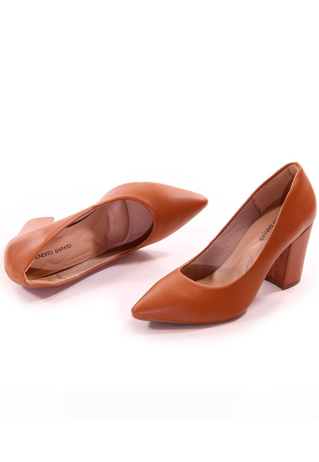 Scarpin caramelo salto grosso Bendito Sapato