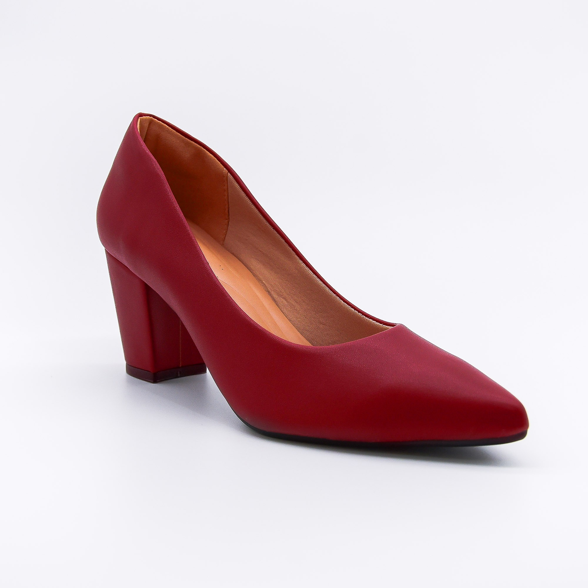 Scarpin vermelho burgundy salto grosso Bendito Sapato