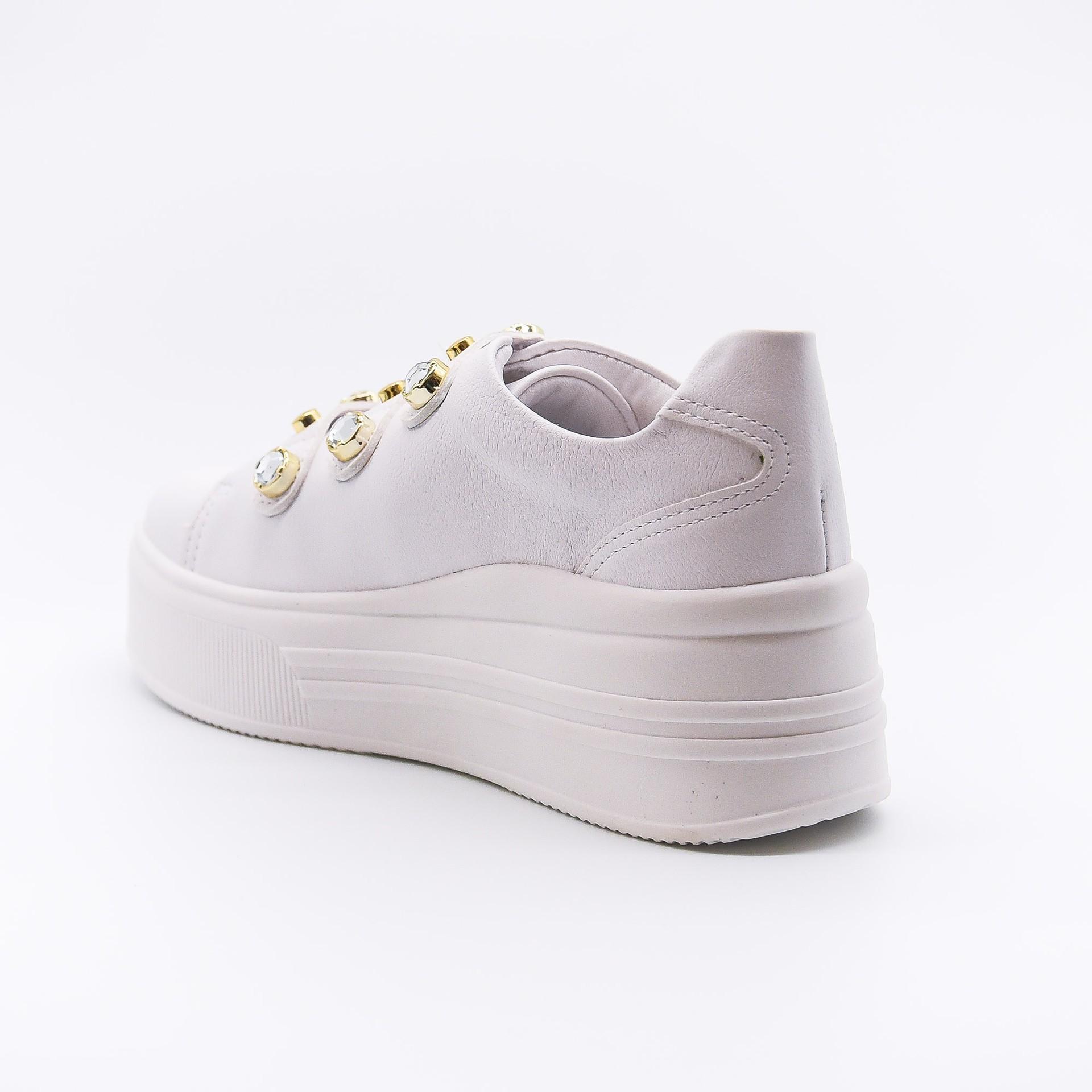 Tênis flatform branco pedraria Bendito Sapato