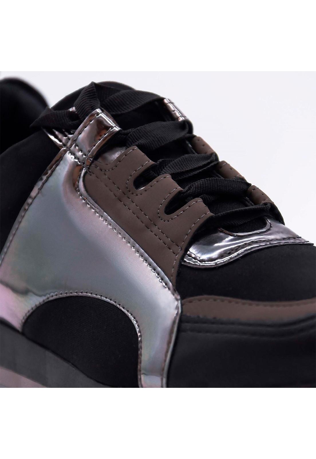 Tênis Specchio preto metalizado Bendito Sapato