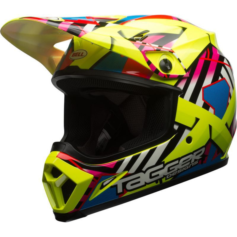 CAPACETE BELL MX 9 TAGGER MIPS - OFF ROAD - AMARELO ROSA AZUL