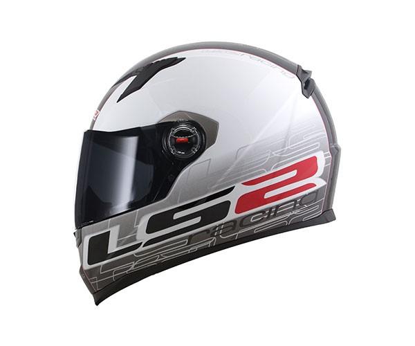 CAPACETE LS2 CLASSIC FF358 RACING - BRANCO PRETO