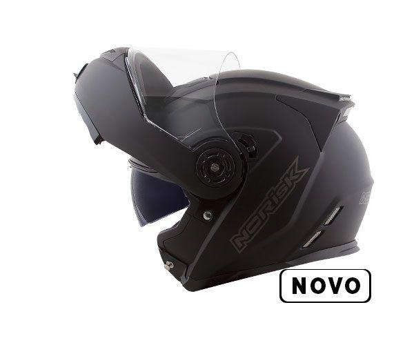 CAPACETE NORISK FF345 ROUTE MONOCOLOR PRETO FOSCO