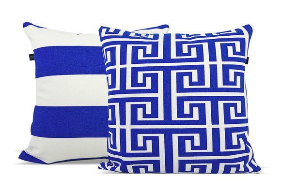 Combo com 2 Almofadas Decorativas Geométrica Azul