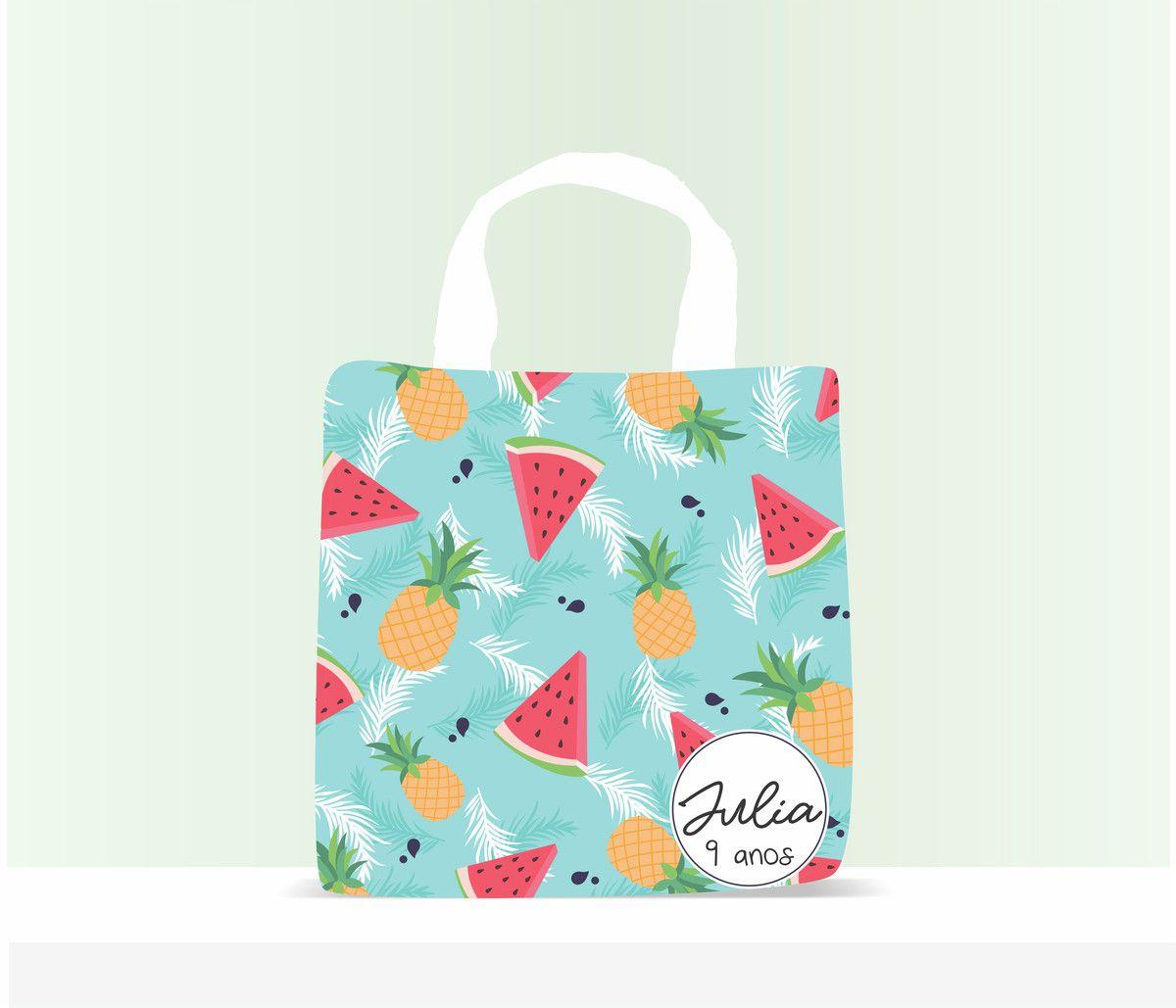 Sacola Ecobag Personalizada Infantil Tropical Azul