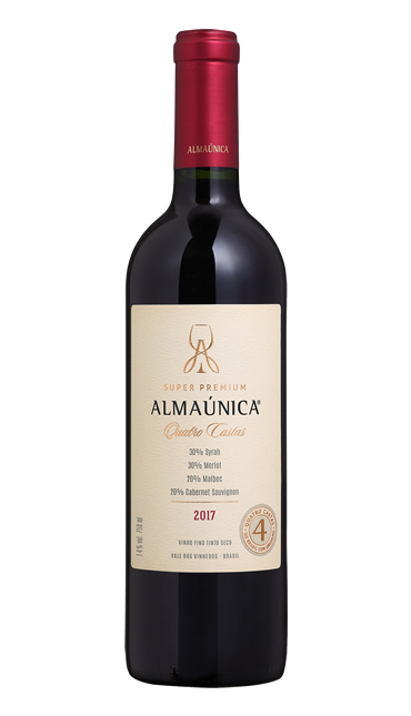 Vinho Super Premium Quatro Castas Safra 2017 - 30% syrah - 30% merlot - 20% malbec - 20% cabernet sauvignon