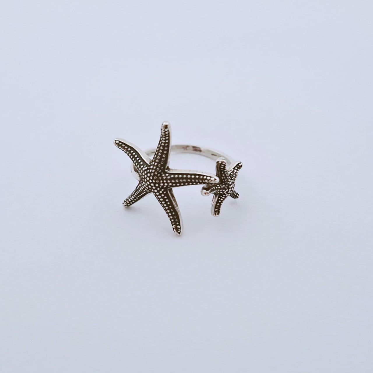 Anel de Prata Ajustável Duas Estrelas do Mar