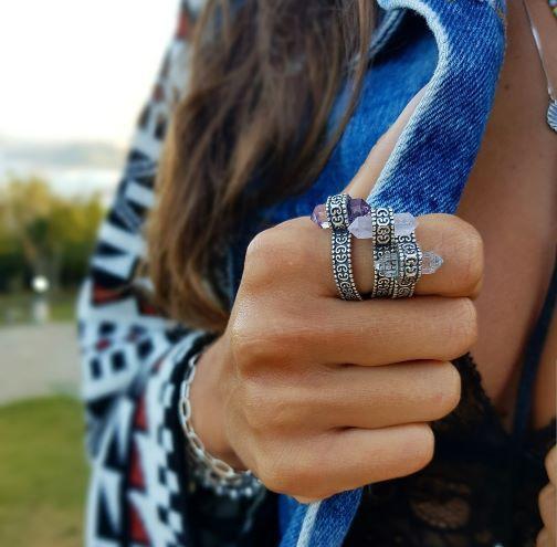 Anel de Prata Boho com Pedras