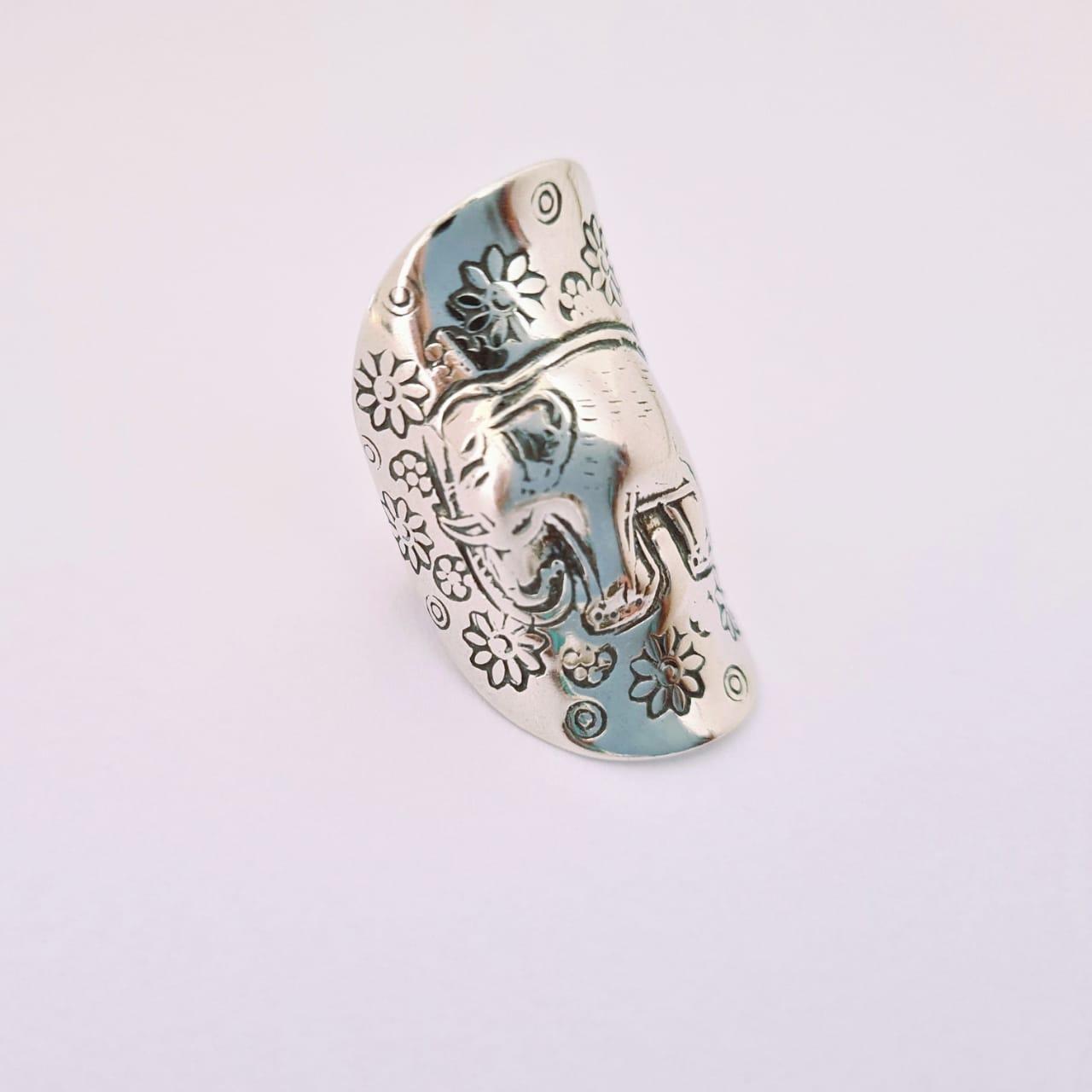 Anel de Prata Boho Elefante