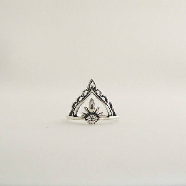 Anel de Prata Coroa com Zircônia